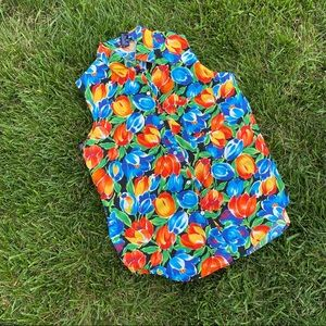 Vtg 90s floral bright colorful md button up tank